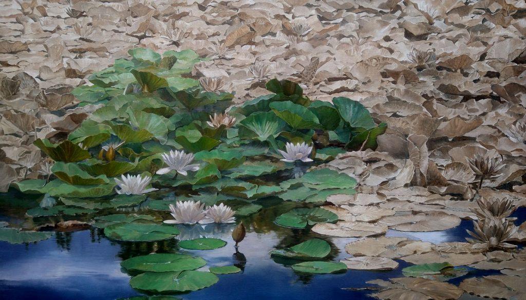 Kornelis Ram Waterlelies Le lac de Crena olieverf op linnen