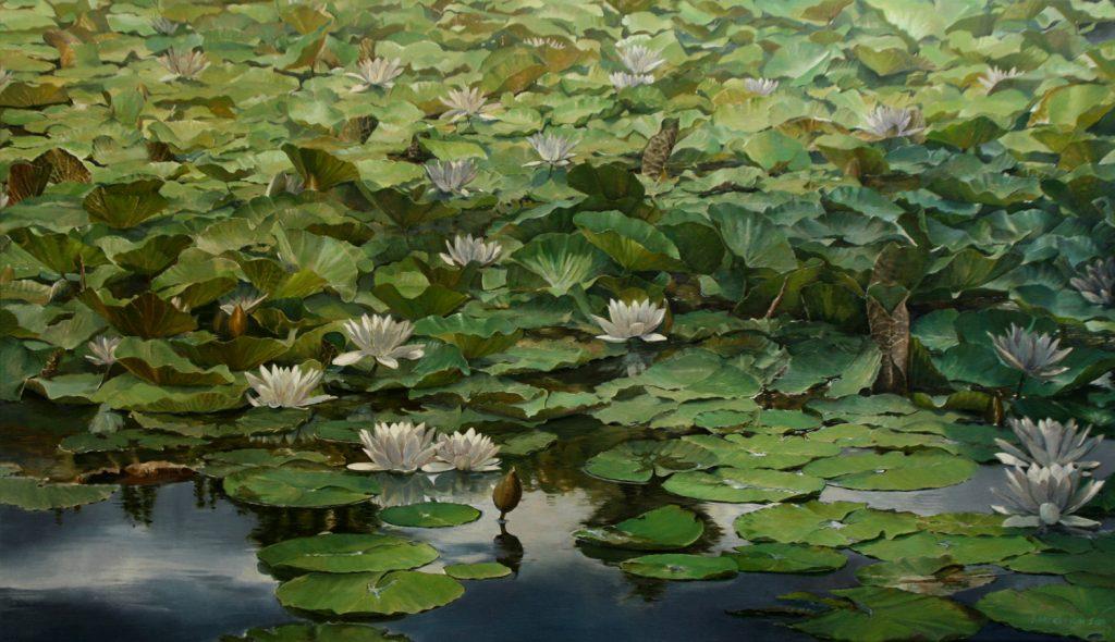 Kornelis Ram Schilderij Waterlelies Le Lac de Crena