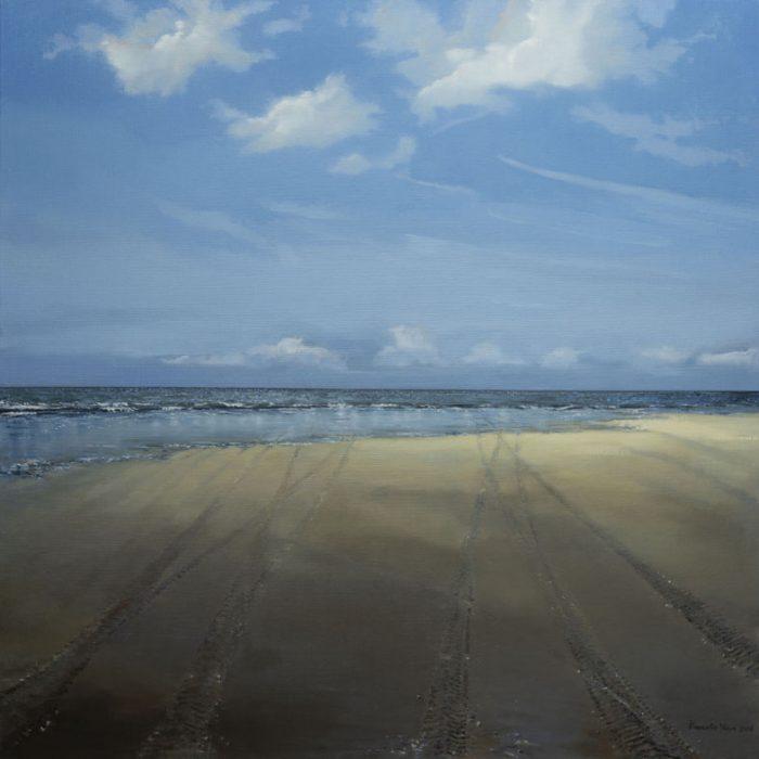 Kornelis Ram Schilderij Sporen in het zand olieverf op linnen